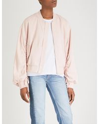 Izzue - Ruched Crepe Bomber Jacket - Lyst