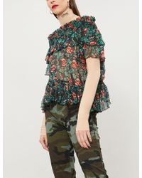 The Kooples - Ladies Green Floral-print Silk-georgette Top - Lyst