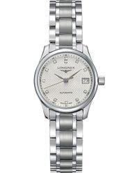 Longines - L2.128.4.77.6 Master Automatic Stainless Steel And Diamond Watch - Lyst