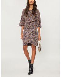 Ba&sh - Flared-cuff Floral-print Crepe Dress - Lyst