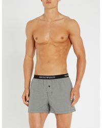 Emporio Armani - Houndstooth-patterned Cotton Boxers - Lyst