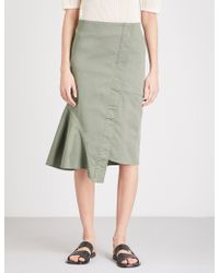Theory - Reconstructed Cotton-blend Midi Skirt - Lyst