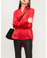 b7472f273966f Lyst - The Kooples Floral-print Silk-crepe Shirt in Red