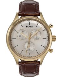 BOSS - Companion Leather And Gold-plated Stainless Steel Chronograph Watch - Lyst