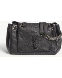 Lyst - Saint Laurent Nolita Monogram Small Leather Shoulder Bag in Blue ab6dbc1b239c9