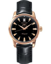 Longines - L1.611.8.52.4 Conquest Heritage Rose Gold Watch - Lyst
