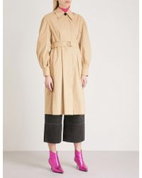 Mo&co. - Puffed-sleeve Cotton Trench Coat - Lyst