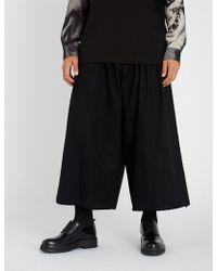 Yohji Yamamoto - Drawstring-waist Relaxed-fit Cotton-gabardine Trousers - Lyst