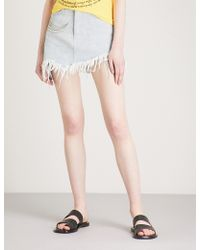 Angel Chen - Frayed-hem Denim Skirt - Lyst