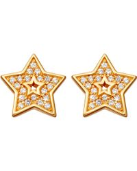 Astley Clarke - Mini Star Biography 18ct Yellow Gold-plated And Sapphire Stud Earrings - Lyst