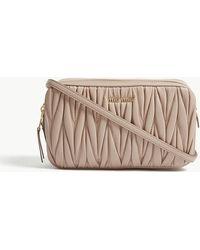 Miu Miu - Miu Ladies Nude Pink Matelassé Leather Cross-body Bag - Lyst