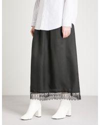 Limi Feu - Lace-hem Satin Midi Skirt - Lyst
