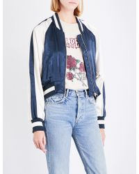 Mo&co. - Eagle-embroidered Satin Bomber Jacket - Lyst