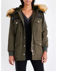 The Kooples Sport | Ladies Khaki Stylish Patch-embroidered Cotton Parka Coat | Lyst