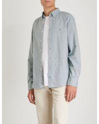 Tommy Hilfiger - Embroidered-logo Regular-fit Cotton Shirt - Lyst