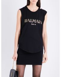 11ac0a8b Balmain - Ladies Black Logo-print Cotton-jersey Top - Lyst