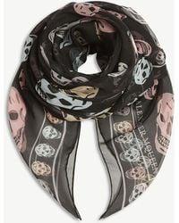 Alexander McQueen - Multi-coloured Skull Print Silk Chiffon Scarf - Lyst