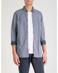 BOSS - Geometric-print Slim-fit Cotton Shirt - Lyst