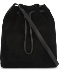 Mo&co. - Embroidered Leather And Suede Shoulder Bag - Lyst
