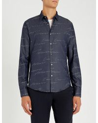 Emporio Armani - Modern-fit Signature-print Cotton Shirt - Lyst