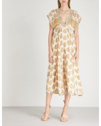 Free People - Riakaa Printed Woven Midi Dress - Lyst
