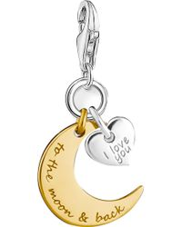 Thomas Sabo - Charm Club Engraved 18ct Yellow Gold And Sterling Silver Moon And Star Charm - Lyst