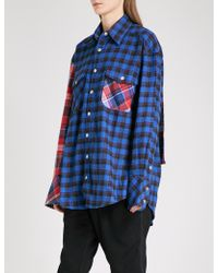 D-ANTIDOTE - Printed-panel Checked Cotton-blend Shirt - Lyst