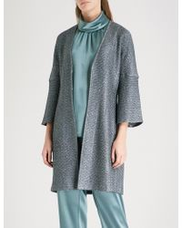 St. John - Metallic Knitted Cardigan Dress - Lyst