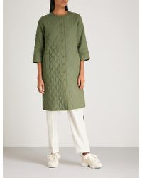 Ganni - Camellia Quilted Linen And Cotton-blend Coat - Lyst
