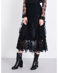 Anna Sui - Flared High-rise Rosebud Floral-lace Skirt - Lyst