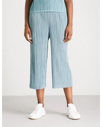 Pleats Please Issey Miyake - Thicker Wide-leg Cropped Pleated Trousers - Lyst
