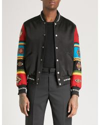 Saint Laurent - Embellished-sleeve Satin And Wool Bomber Jacket - Lyst