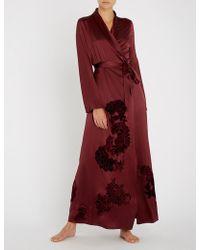 Myla - Primrose Hill Floral-embroidered Silk-satin Robe - Lyst