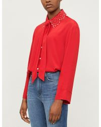 Sandro - Embellished Embroidered-collar Crepe Shirt - Lyst