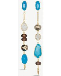 Kendra Scott - Cosette Asymmetric 14ct Yellow Gold-plated Brass And Teal Agate Drop Earrings - Lyst