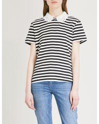 Claudie Pierlot - Detachable-collar Striped Jersey Top - Lyst