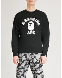 A Bathing Ape - Logo-print Cotton-jersey Sweatshirt - Lyst