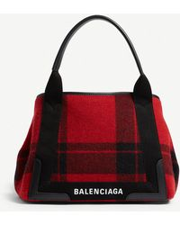Balenciaga - Red Checked Leather-trimmed Tartan Wool Shoulder Bag - Lyst