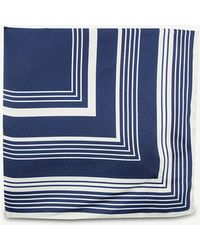 Oscar Jacobson - Striped Woven Pocket Square - Lyst