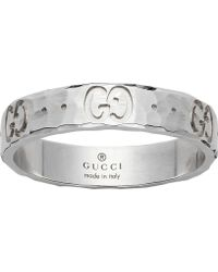 Gucci - Icon Hammered 18ct White Gold Ring - Lyst