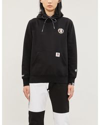 Aape Logo-embroidered Cotton-jersey Hoody - Black