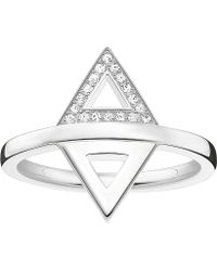 Thomas Sabo - Triangle Sterling Silver And Diamond Ring - Lyst