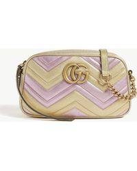 159f8e72415809 Gucci - Women's Gold And Pink Zigzag GG Marmont Metallic Quilted Leather Shoulder  Bag - Lyst