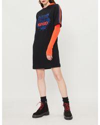 08884c31258b29 KENZO - Black Stripe Logo-embroidered Crepe Dress - Lyst
