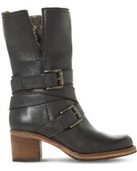 Dune - Ladies Black Buckled Fashionable Rockerr Leather Boots - Lyst