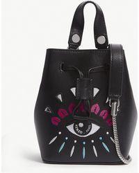 KENZO - Metallic Eye Mini Leather Bucket Bag - Lyst