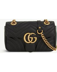 2d8a6c560380 Gucci - Women's Black Heart Embroidered Marmont GG Mini Leather Cross Body  Bag - Lyst