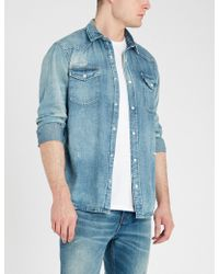The Kooples - Distressed Relaxed-fit Denim Shirt - Lyst