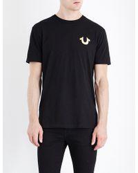 True Religion - Metallic Logo-print Cotton-jersey T-shirt - Lyst