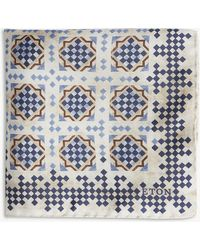 Eton of Sweden - Geometric Tile-print Silk Pocket Square - Lyst